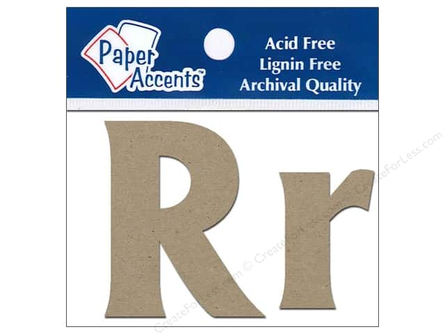 "Paper Accents Chipboard Shape Letters ""Rr"" 2 in. 2 pc. Kraft"