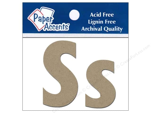 "Paper Accents Chipboard Shape Letters ""Ss"" 2 in. 2 pc. Natural"