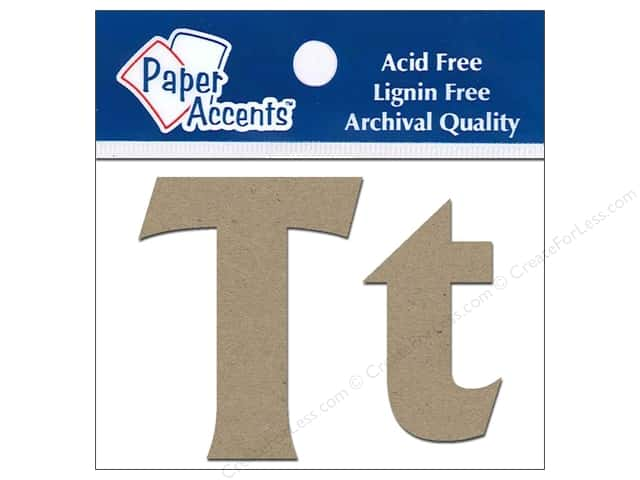 "Paper Accents Chipboard Shape Letters ""Tt"" 2 in. 2 pc. Kraft"