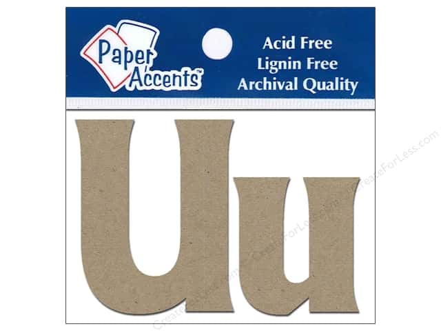 "Paper Accents Chipboard Shape Letters ""Uu"" 2 in. 2 pc. Kraft"