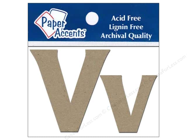 "Paper Accents Chipboard Shape Letters ""Vv"" 2 in. 2 pc. Kraft"