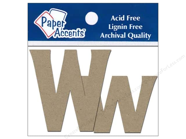 "Paper Accents Chipboard Shape Letters ""Ww"" 2 in. 2 pc. Kraft"