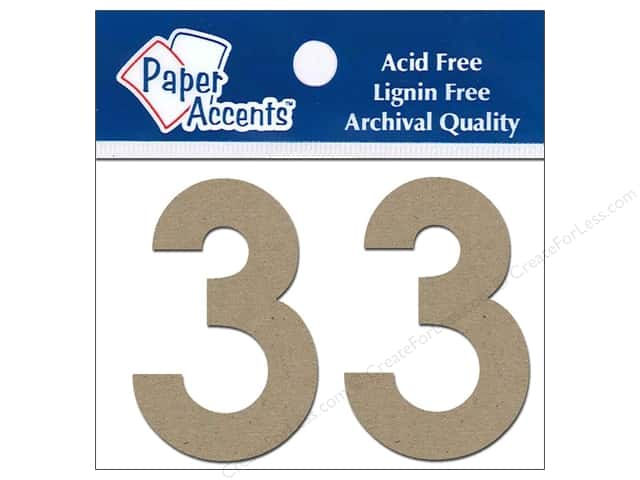 "Paper Accents Chipboard Shape Numbers ""3"" 2 in. 2 pc. Natural"