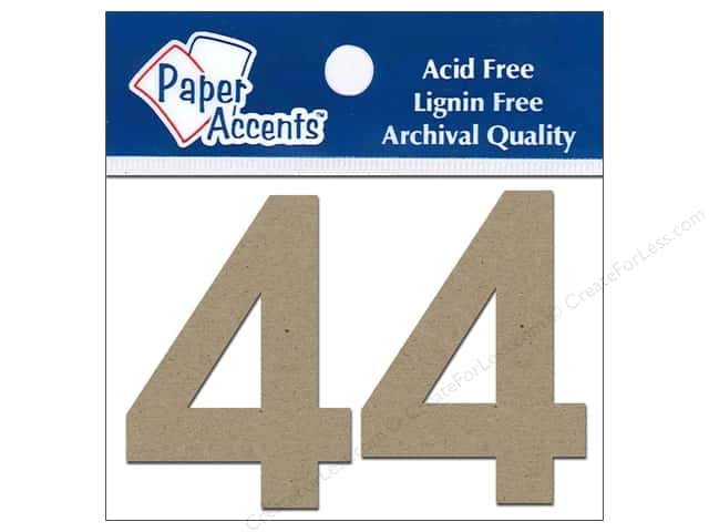 "Paper Accents Chipboard Shape Numbers ""4"" 2 in. 2 pc. Natural"