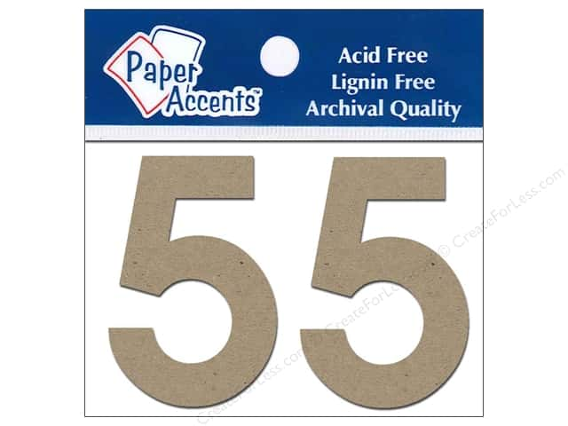 "Paper Accents Chipboard Shape Numbers ""5"" 2 in. 2 pc Kraft"