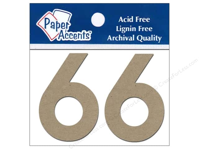 "Paper Accents Chipboard Shape Numbers ""6"" 2 in. 2 pc Natural"