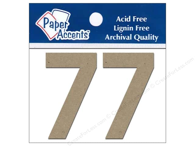 "Paper Accents Chipboard Shape Numbers ""7"" 2 in. 2 pc Kraft"