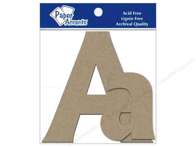 "Paper Accents Chipboard Shape Letters ""Aa"" 4 in. 2 pc. Kraft"