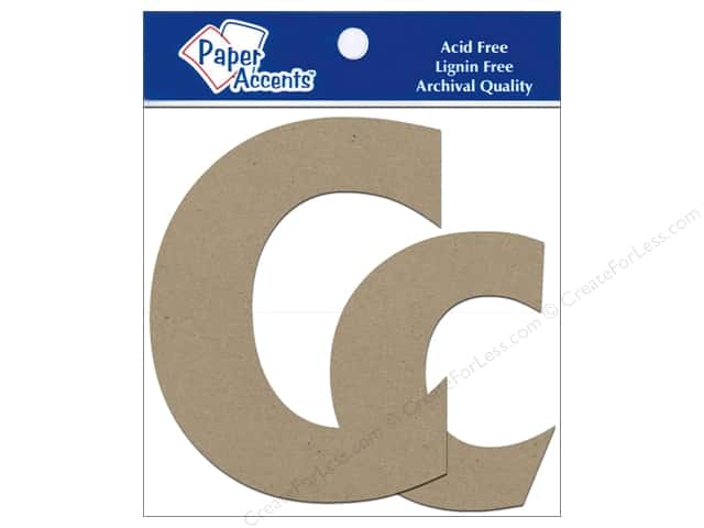 "Paper Accents Chipboard Shape Letters ""Cc"" 4 in. 2 pc. Natural"