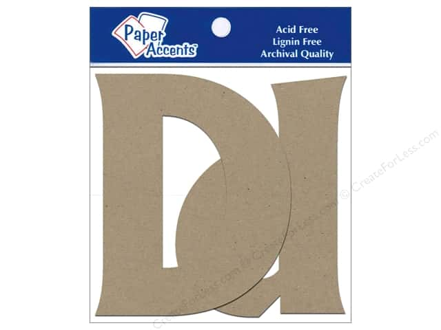 "Paper Accents Chipboard Shape Letters ""Dd"" 4 in. 2 pc. Kraft"