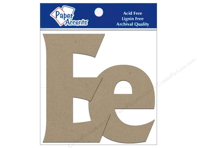 "Paper Accents Chipboard Shape Letters ""Ee"" 4 in. 2 pc. Kraft"
