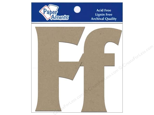 "Paper Accents Chipboard Shape Letters ""Ff 4 in. 2 pc. Kraft"