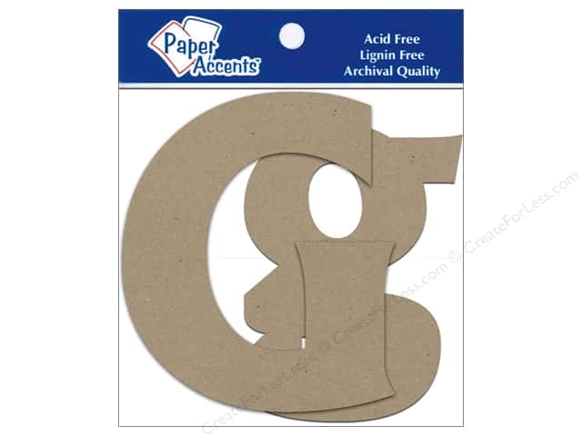 "Paper Accents Chipboard Shape Letters ""Gg"" 4 in. 2 pc. Kraft"