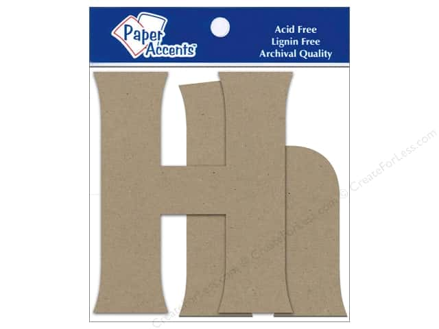 """Paper Accents Chipboard Shape Letters """"Hh"""" 4 in. 2 pc. Natural"""