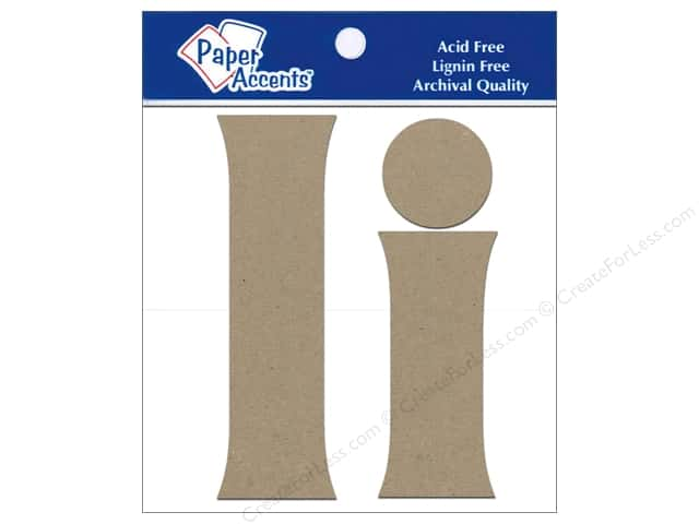 "Paper Accents Chipboard Shape Letters ""Ii"" 4 in. 2 pc. Natural"