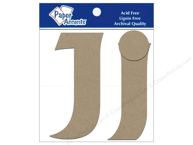 "Paper Accents Chipboard Shape Letters ""Jj"" 4 in. 2 pc. Kraft"