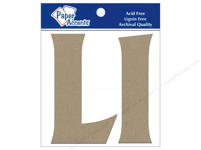 "Paper Accents Chipboard Shape Letters ""Ll"" 4 in. 2 pc. Kraft"
