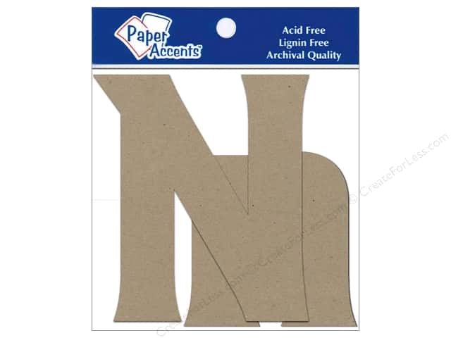 "Paper Accents Chipboard Shape Letters ""Nn"" 4 in. 2 pc. Natural"