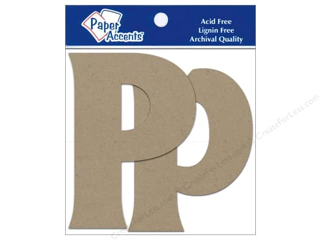 "Paper Accents Chipboard Shape Letters ""Pp"" 4 in. 2 pc. Kraft"