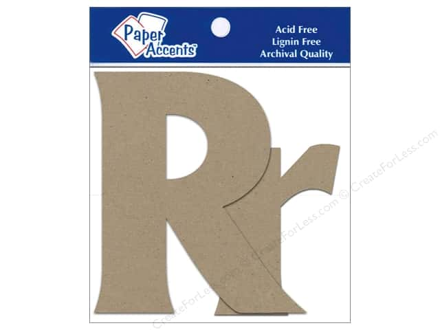 "Paper Accents Chipboard Shape Letters ""Rr"" 4 in. 2 pc. Kraft"