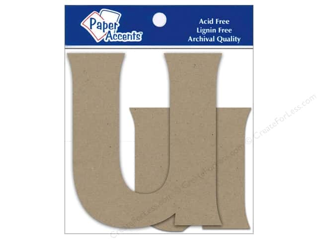 """Paper Accents Chipboard Shape Letters """"Uu"""" 4 in. 2 pc. Natural"""