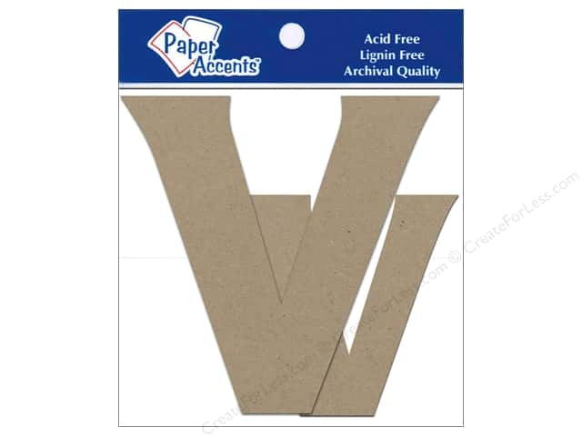 "Paper Accents Chipboard Shape Letters ""Vv"" 4 in. 2 pc. Kraft"