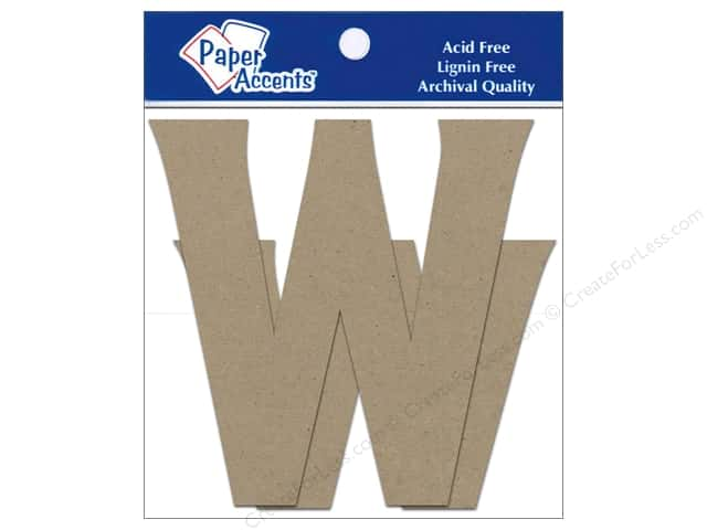 "Paper Accents Chipboard Shape Letters ""Ww"" 4 in. 2 pc. Kraft"