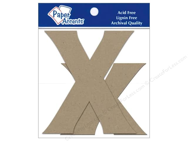 "Paper Accents Chipboard Shape Letters ""Xx"" 4 in. 2 pc. Kraft"