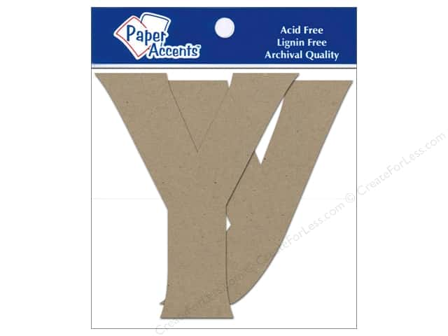 "Paper Accents Chipboard Shape Letters ""Yy"" 4 in. 2 pc. Natural"