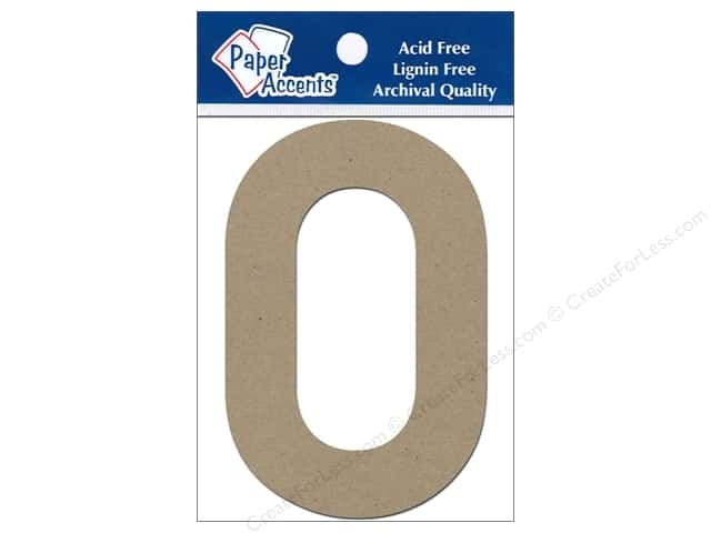 "Paper Accents Chipboard Shape Numbers ""0"" 4 in. 2 pc. Kraft"