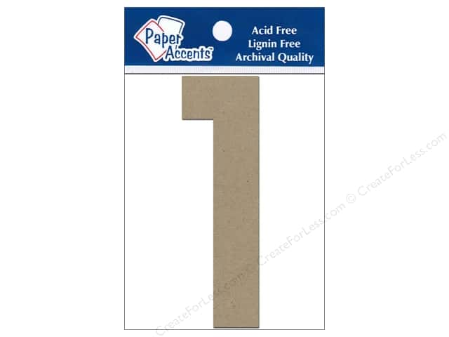 "Paper Accents Chipboard Shape Numbers ""1"" 4 in. 2 pc. Kraft"