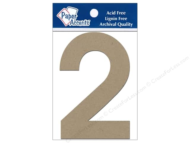 "Paper Accents Chipboard Shape Numbers ""2"" 4 in. 2 pc. Kraft"