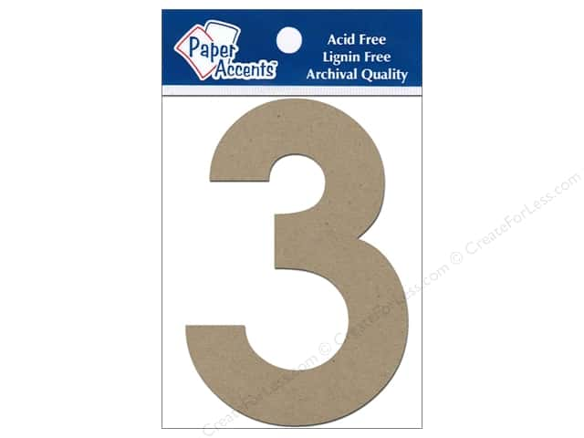 "Paper Accents Chipboard Shape Numbers ""3"" 4 in. 2 pc. Natural"