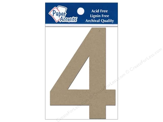 "Paper Accents Chipboard Shape Numbers ""4"" 4 in. 2 pc. Natural"