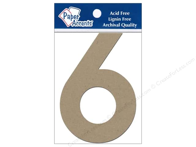 "Paper Accents Chipboard Shape Numbers ""6"" 4 in. 2 pc Kraft"