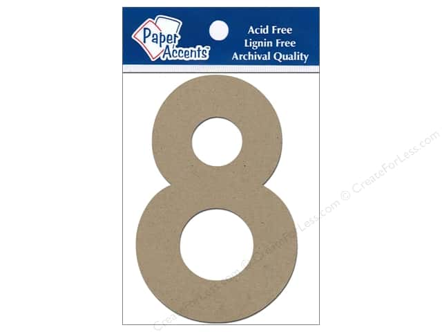 "Paper Accents Chipboard Shape Numbers ""8"" 4 in. 2 pc Kraft"