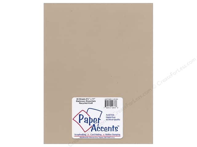 Paper Accents Stationery 8 1/2 x 11 in. Recycled Kraft 20 pc.