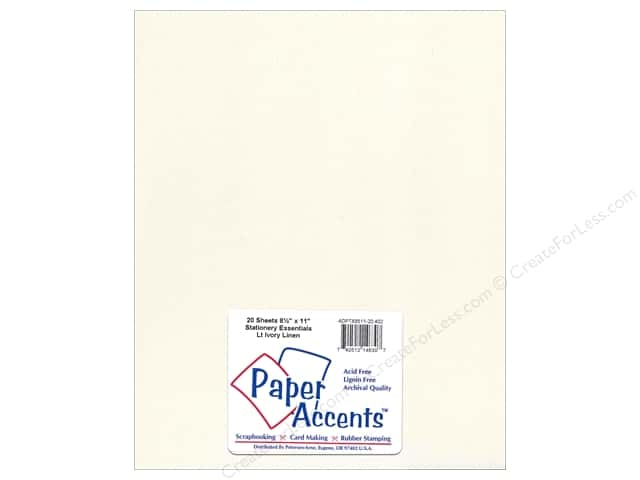 Paper Accents Stationery 8 1/2 x 11 in. Linen Light Ivory 20 pc.