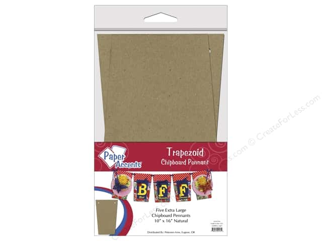 Paper Accents Chipboard Pennants 10 x 16 in. Trapezoid  5 pc. Natural