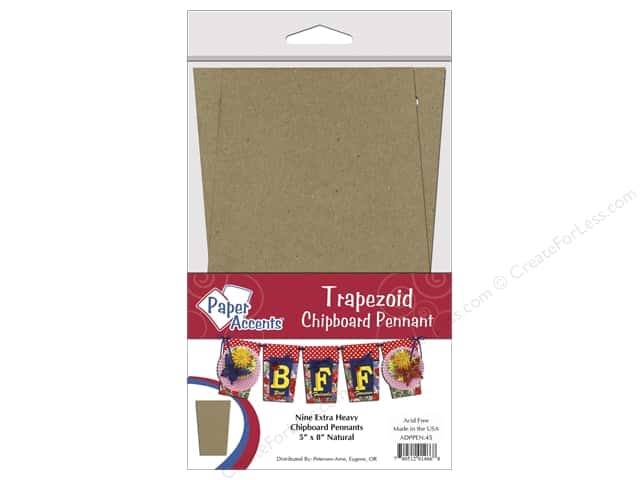 Paper Accents Chipboard Pennants 5 x 8 in. Trapezoid 9 pc. Kraft