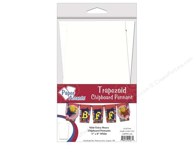 Paper Accents Chipboard Pennants 5 x 8 in. Trapezoid 9 pc. White