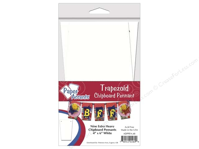 Paper Accents Chipboard Pennants 4 x 6 in. Trapezoid 9 pc. White