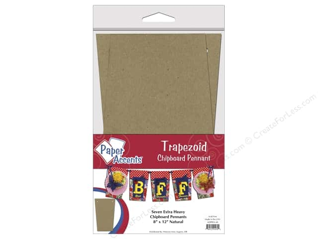 Paper Accents Chipboard Pennants 8 x 12 in. Trapezoid 7 pc. Natural