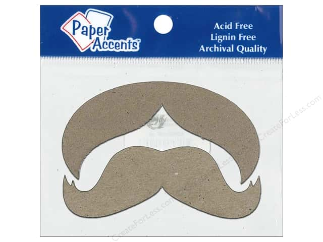 Paper Accents Chipboard Shape Mustache 8 pc. Natural