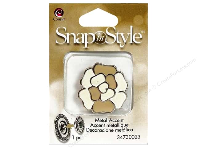 Cousin Snap In Style Accent Metal Flower Tan