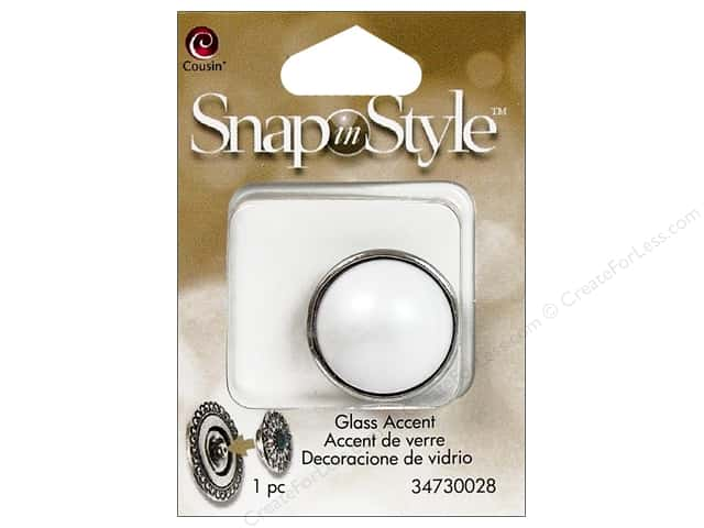 Cousin Snap In Style Accent Glass Pearl White