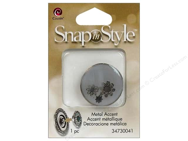 Cousin Snap In Style Accent Metal Flower Grey