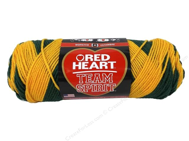 Red Heart Team Spirit Yarn #0948 Green/Gold 244 yd.