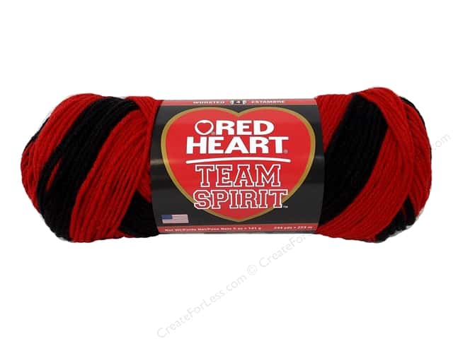 Red Heart Team Spirit Yarn #0952 Red/Black 244 yd.