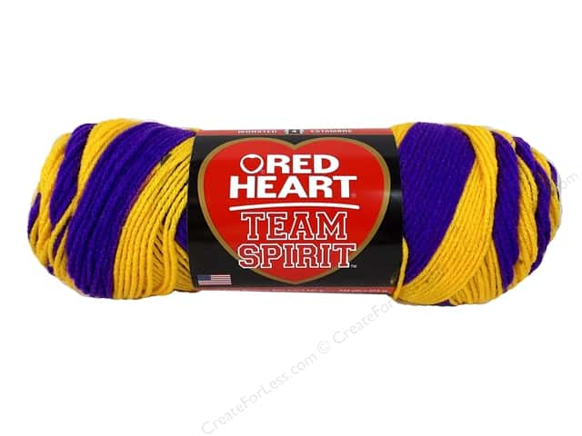 Red Heart Team Spirit Yarn #0956 Purple/Gold 244 yd.